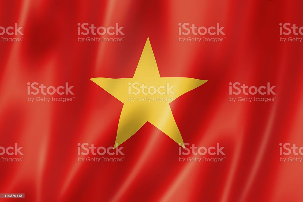 A close up image of the Vietnamese flag with waves stock photo