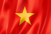 A close up image of the Vietnamese flag with waves