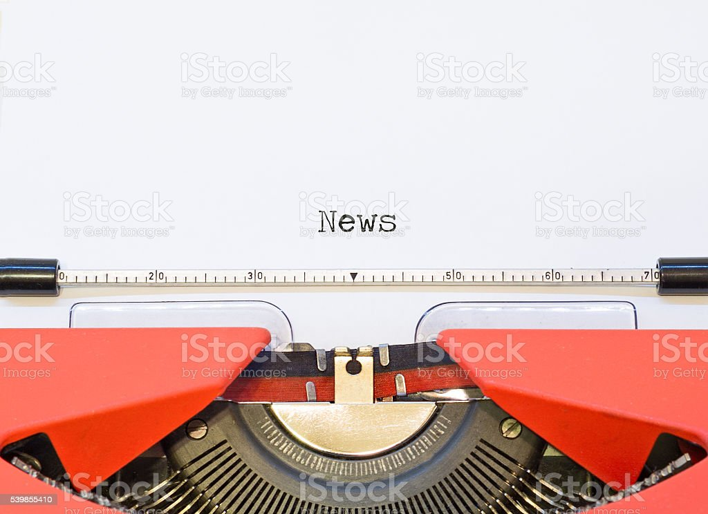 close up image of typewriter with paper sheet and phrase stock photo