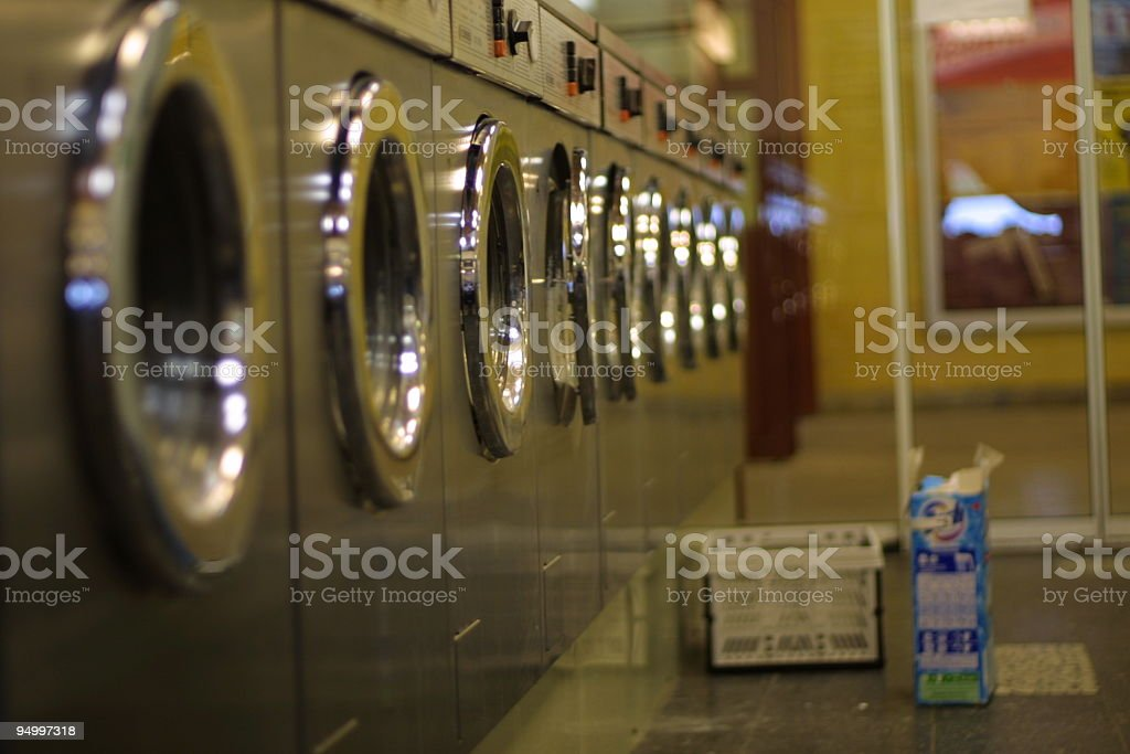 close up in a Laundry, nobody, washing powder on floor stock photo