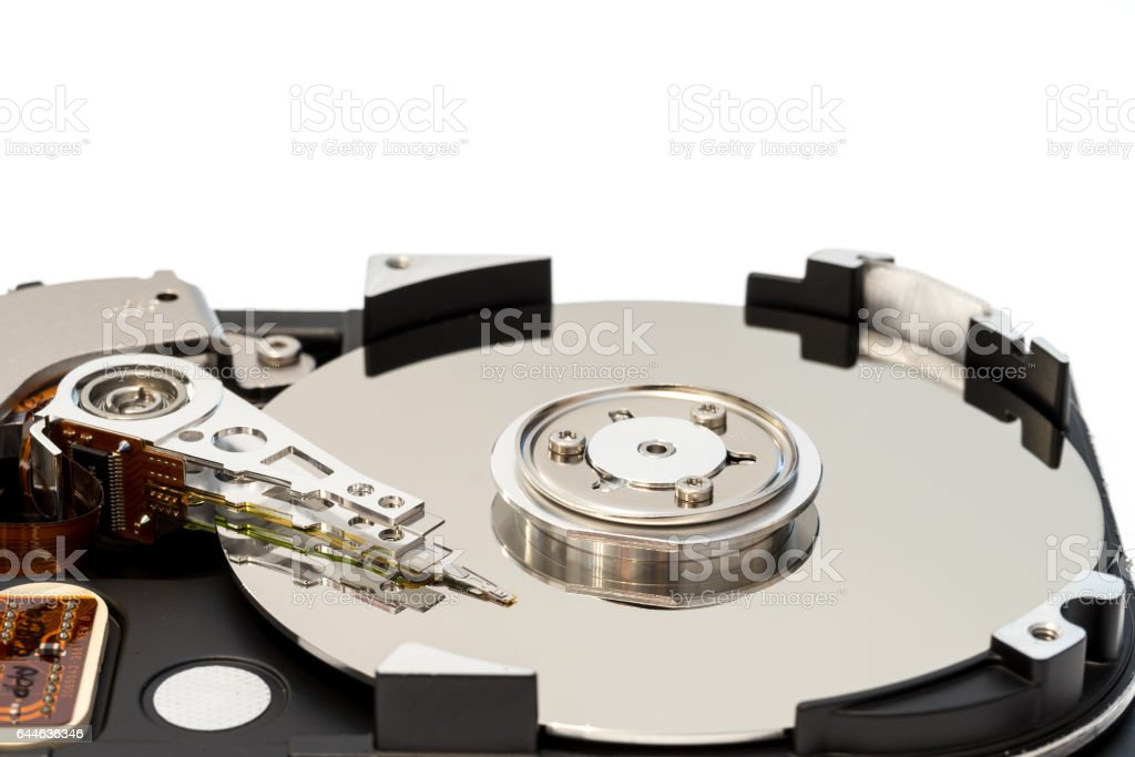 Close up inside of 3.5' computer hard disk drive HDD stock photo