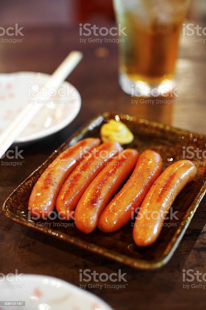 close up japanese smoked sausage royalty-free stock photo