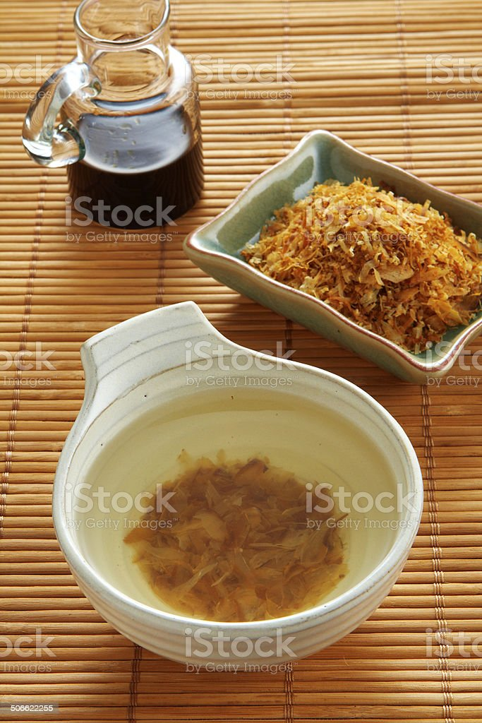 close up japanese soup from dry fish royalty-free stock photo