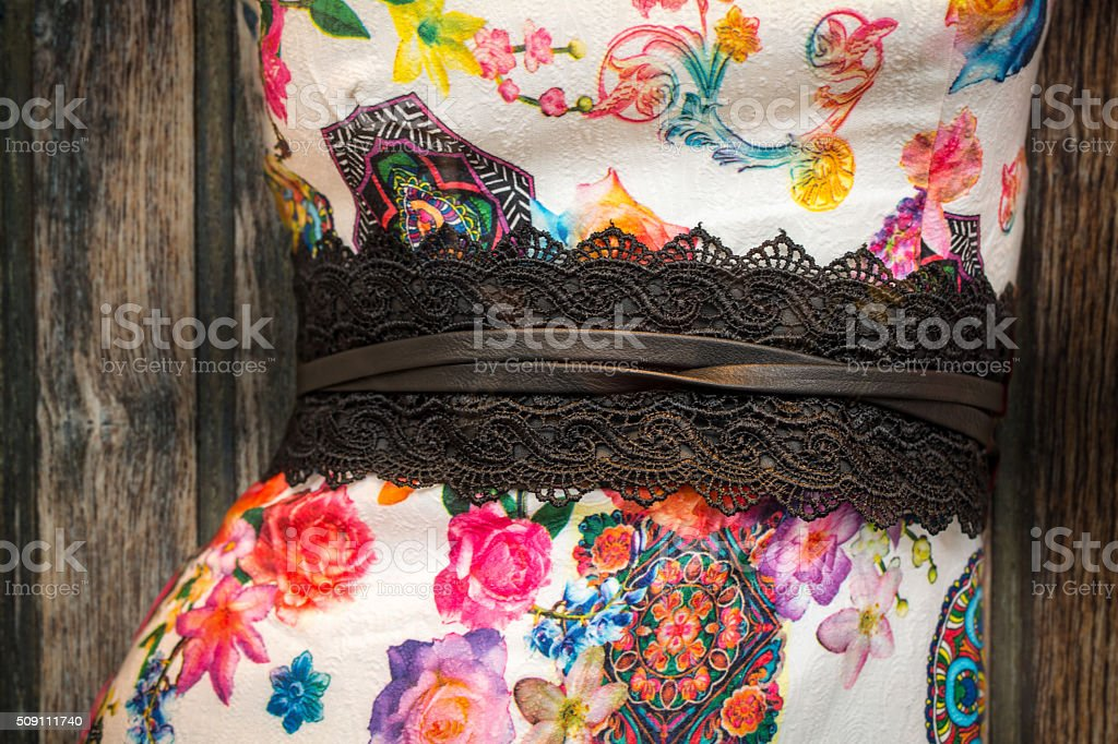 Close up lace belt trend stock photo