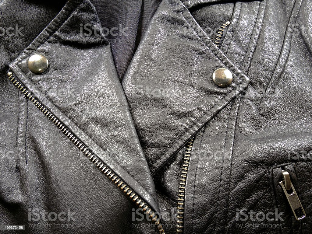Close up leather jacket stock photo