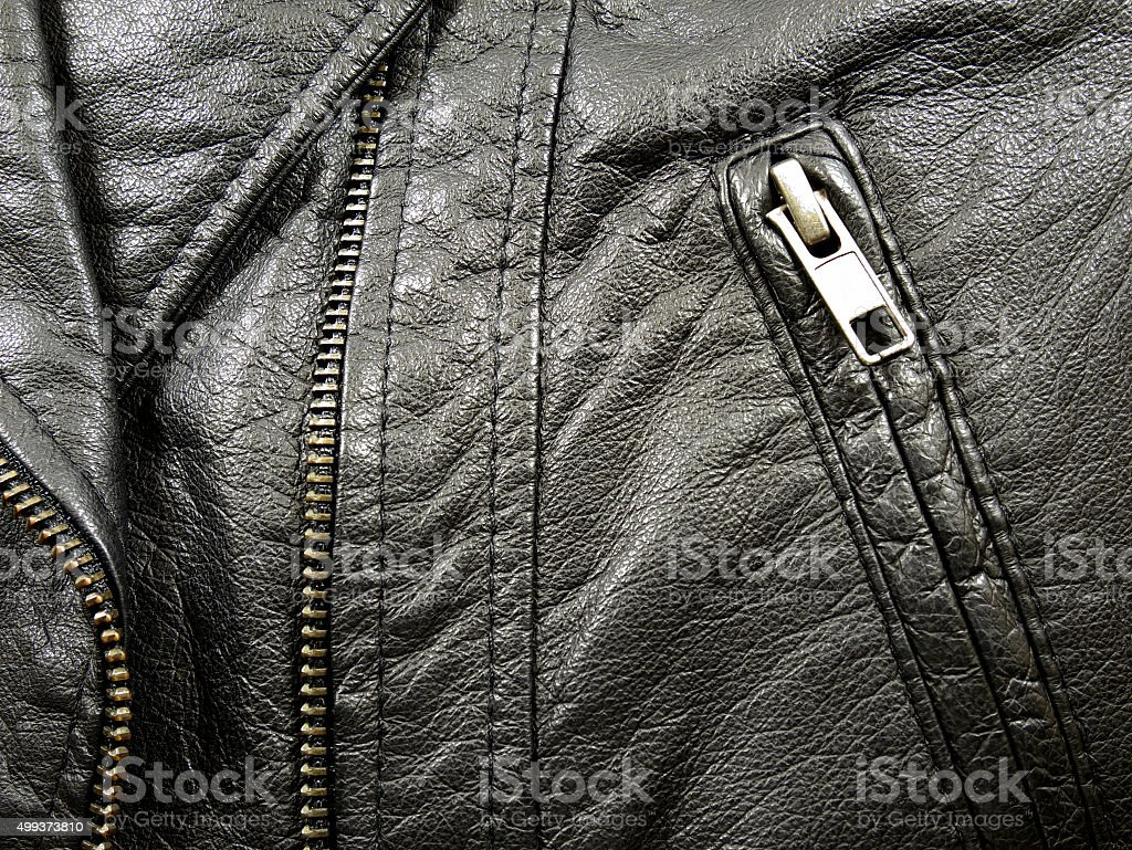 Close up leather jacket stock photo