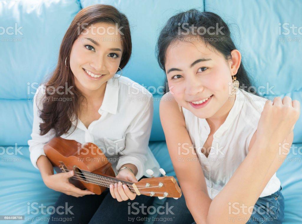 Close up lifestyle portrait Asian woman of best friends stock photo