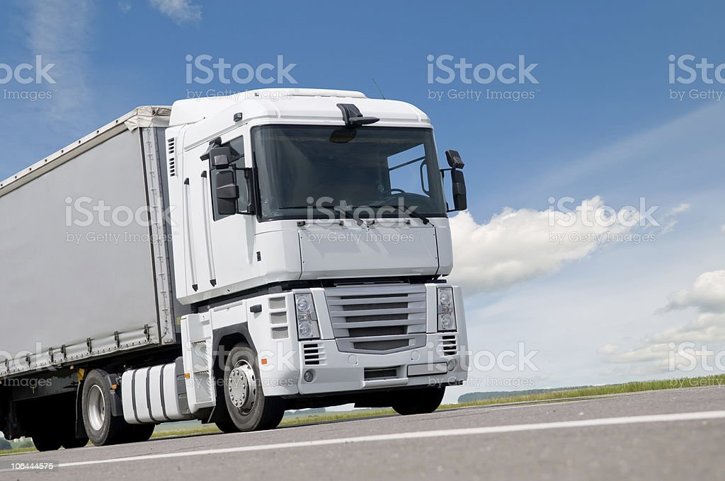 close up lorry truck on road stock photo