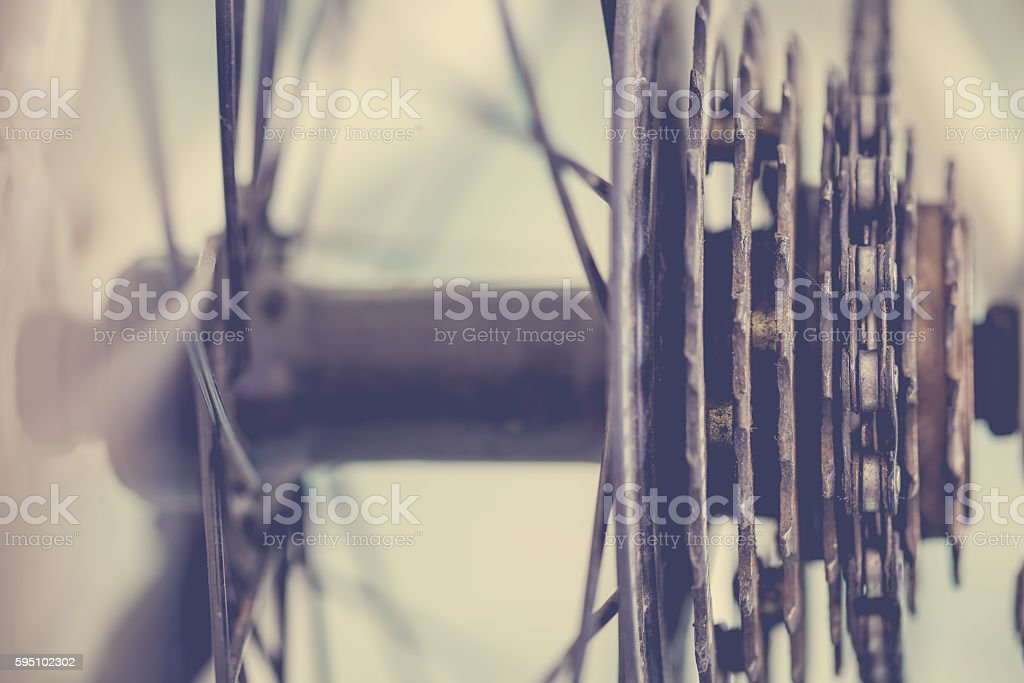 Close up macro bicycle transmission stock photo