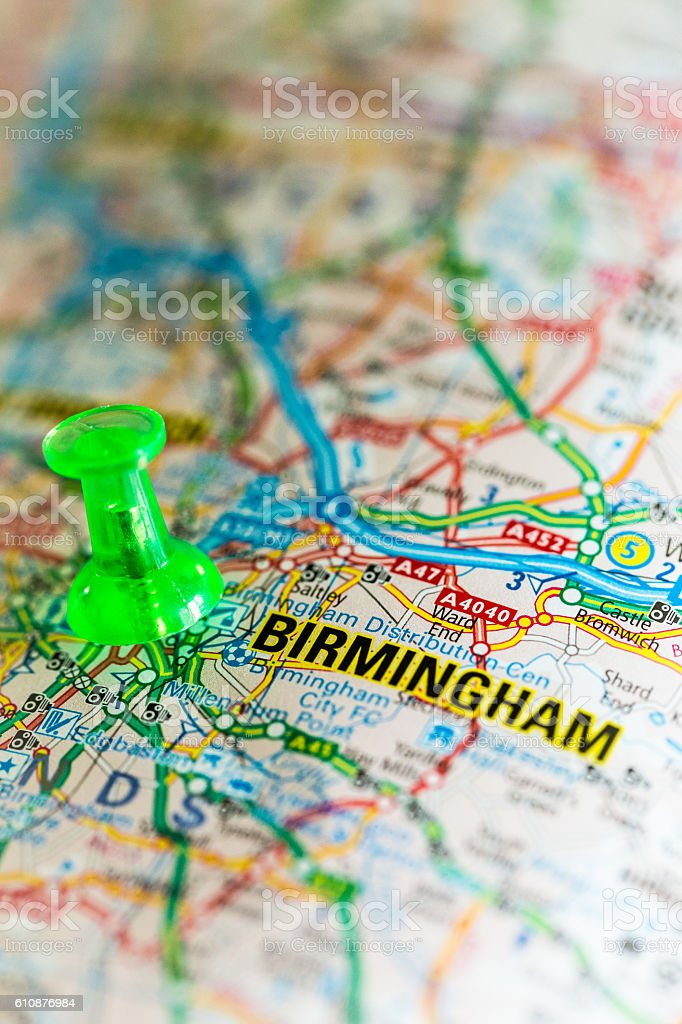 Close up macro image of map of Birmingham, UK stock photo