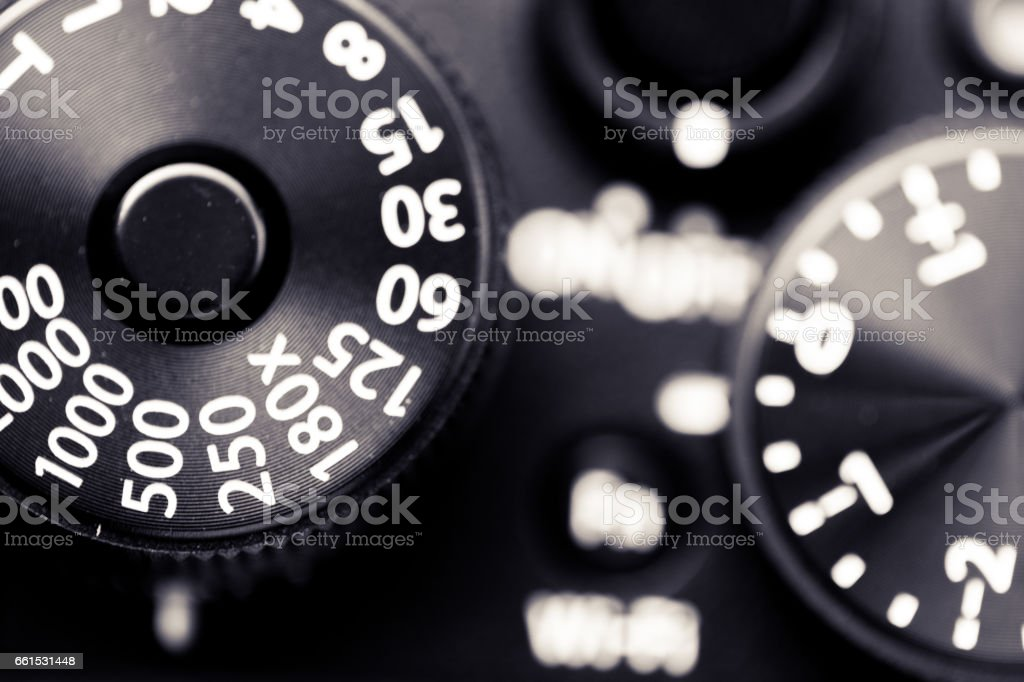 Close up macro image of shutter speed dial on a retro vintage rangefinder camera stock photo