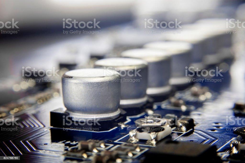 Close up macro of aluminum electrolytic capacitors. stock photo