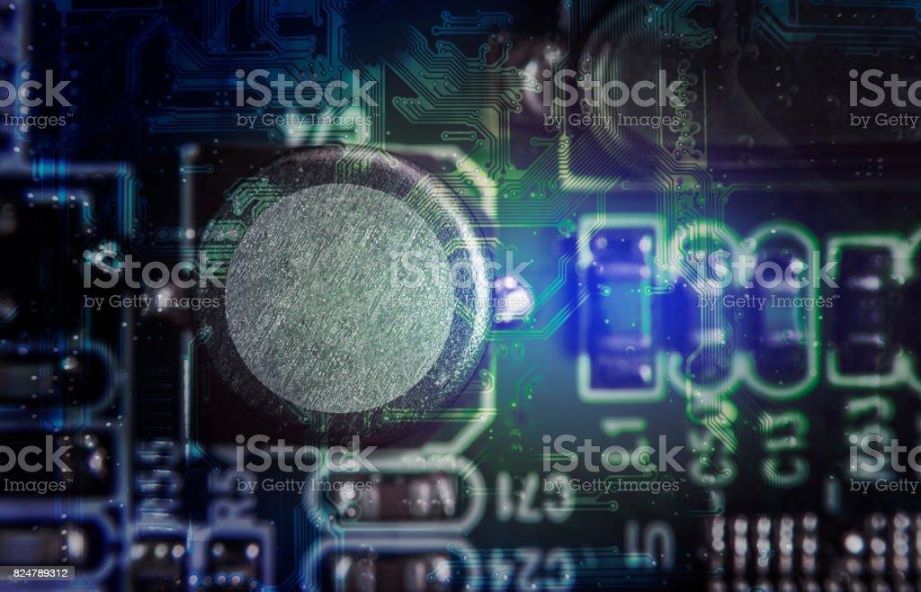 Close up macro of electrolytic capacitors stock photo