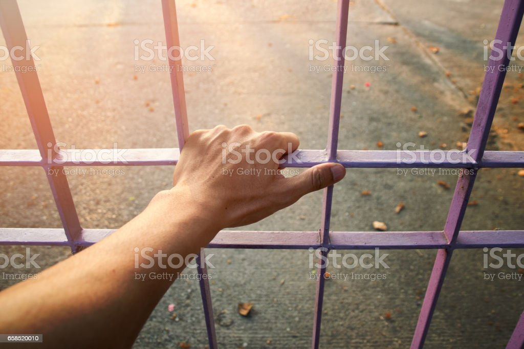 Close up Man hands are holding the cage door stock photo