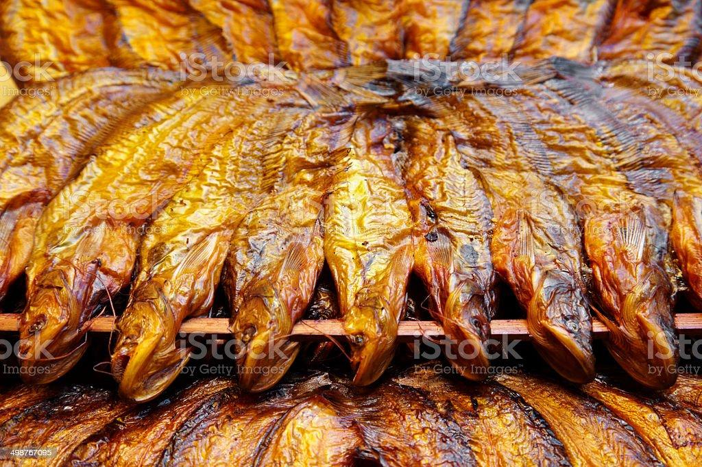 close up many yellow dry fish royalty-free stock photo