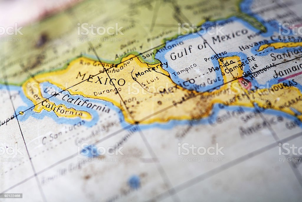 Close up map of Mexico on an antique globe stock photo