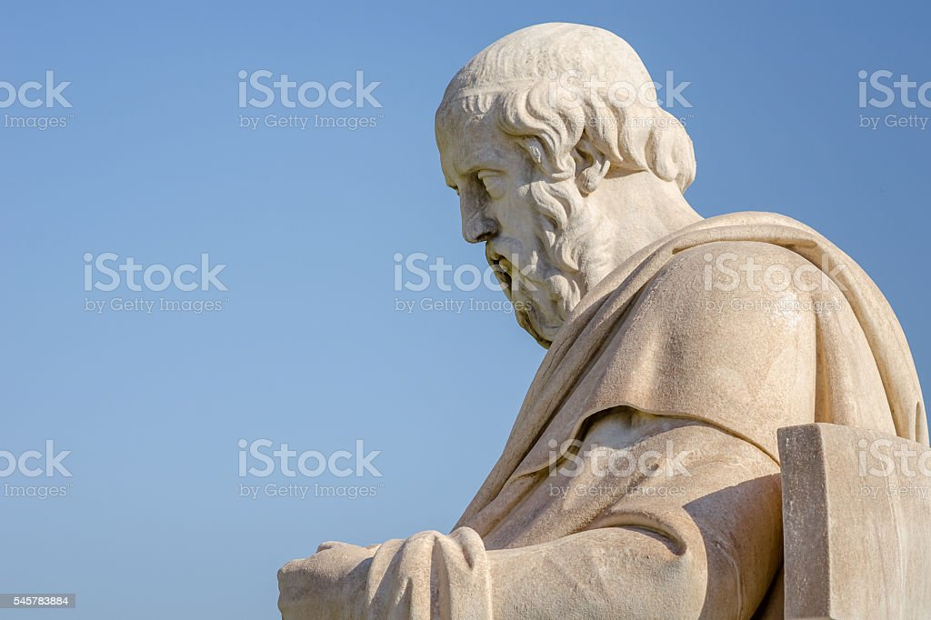 Close Up Marble Statue of the Greek Philosopher Plato stock photo