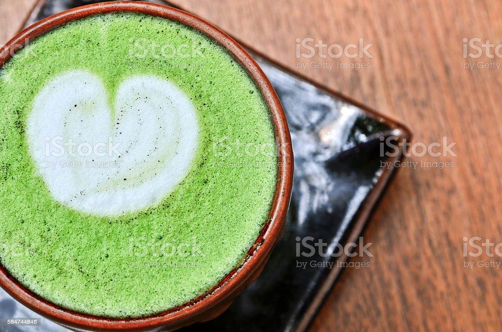 Close up Matcha Greentea Latte Cup. stock photo