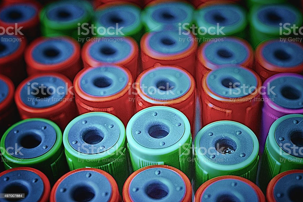 Close up medical test-tube with blood samples stock photo