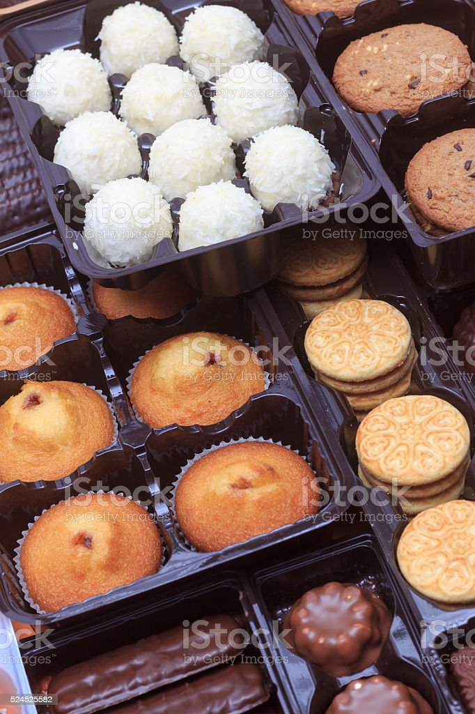 Close up mix of biscuits and muffins stock photo