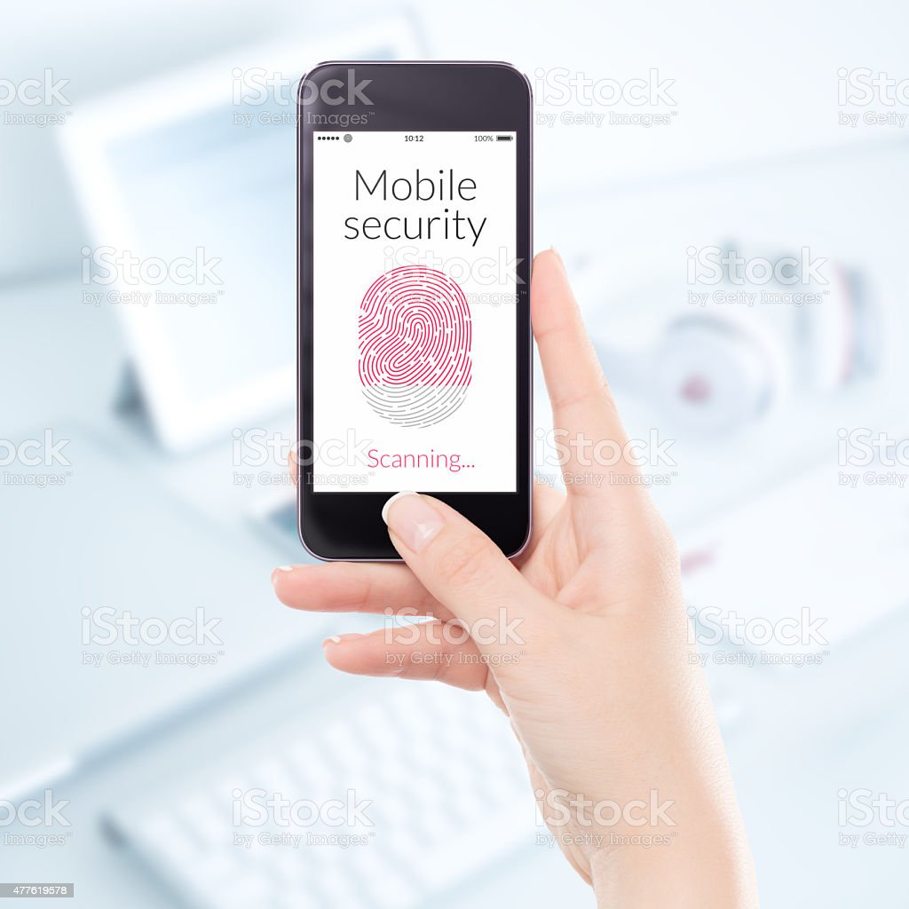 Close up mobile security smartphone fingerprint scanning stock photo