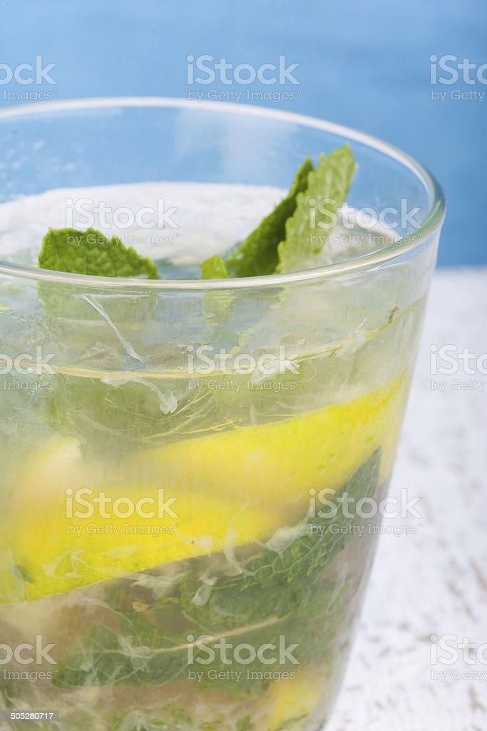 close up mochito drink stock photo