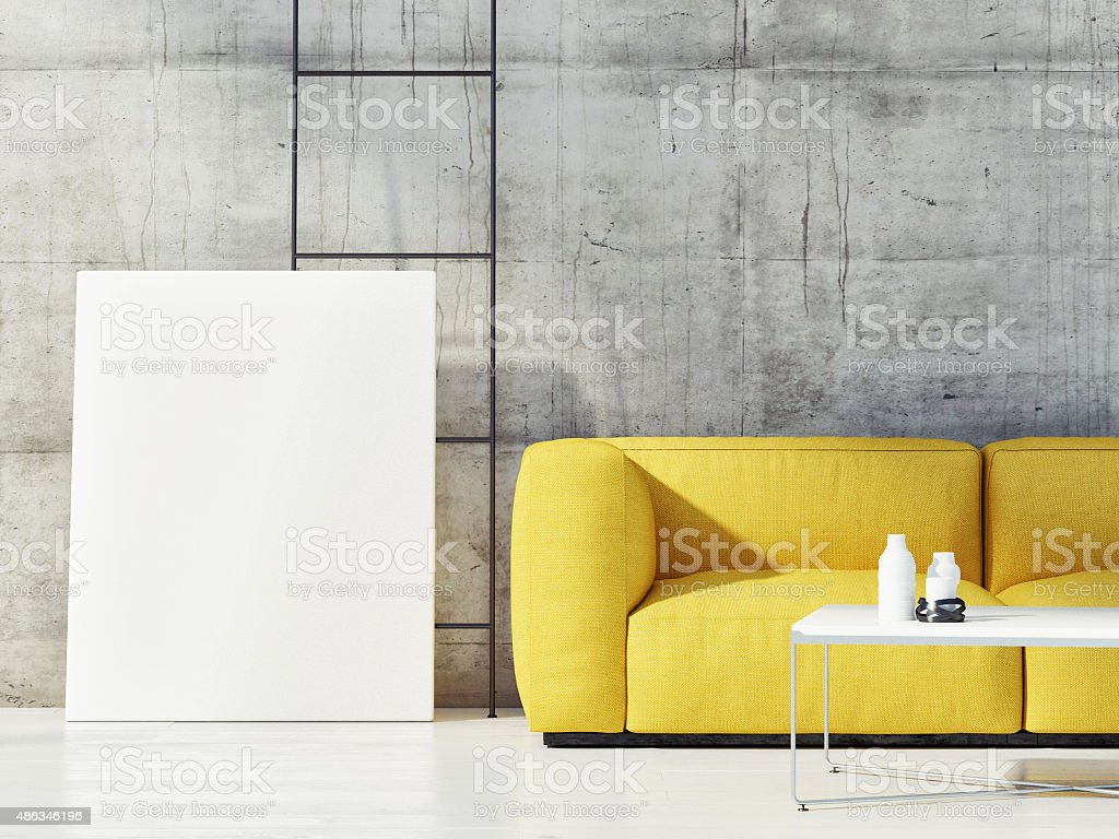Close up mock up poster with yellow sofa stock photo