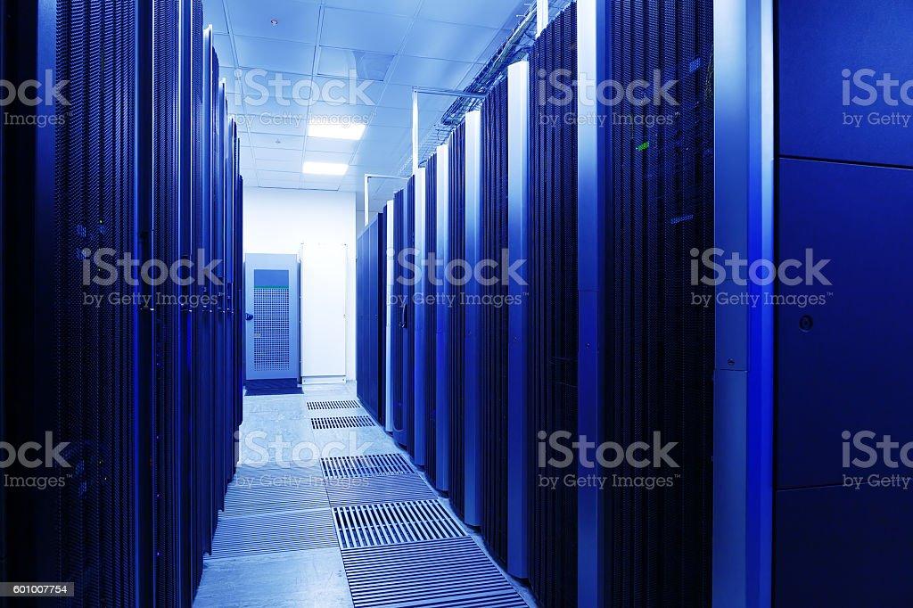 Close up modern interior of server room stock photo