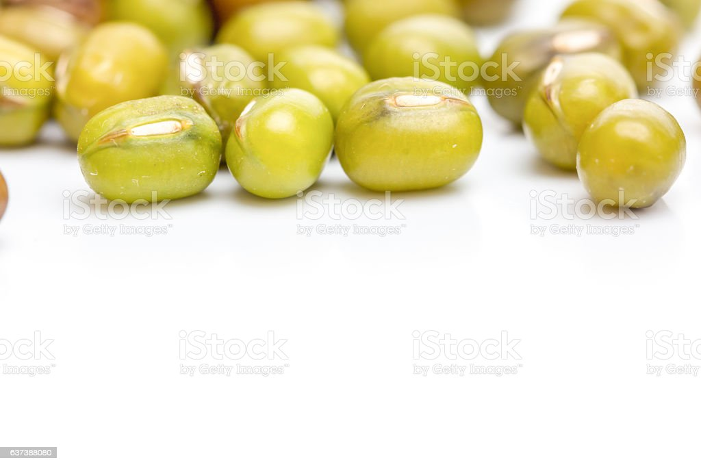 Close up mung bean on white background isolated. stock photo