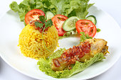 Close up Muslim yellow rice with chicken, Selective focus