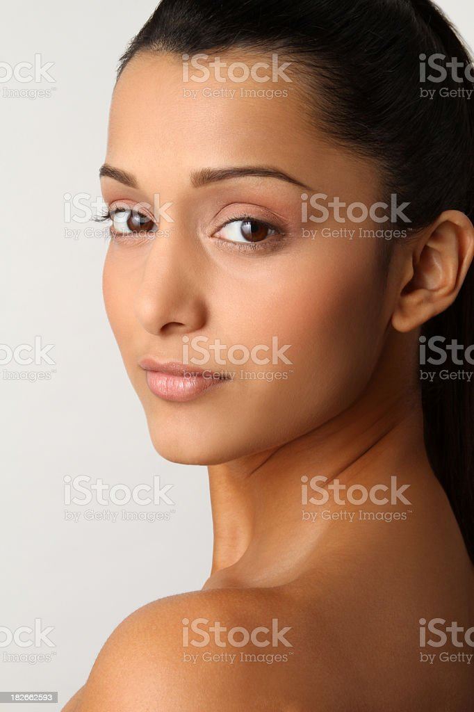 Close up natural portrait of a woman of Indian heritage royalty-free stock photo