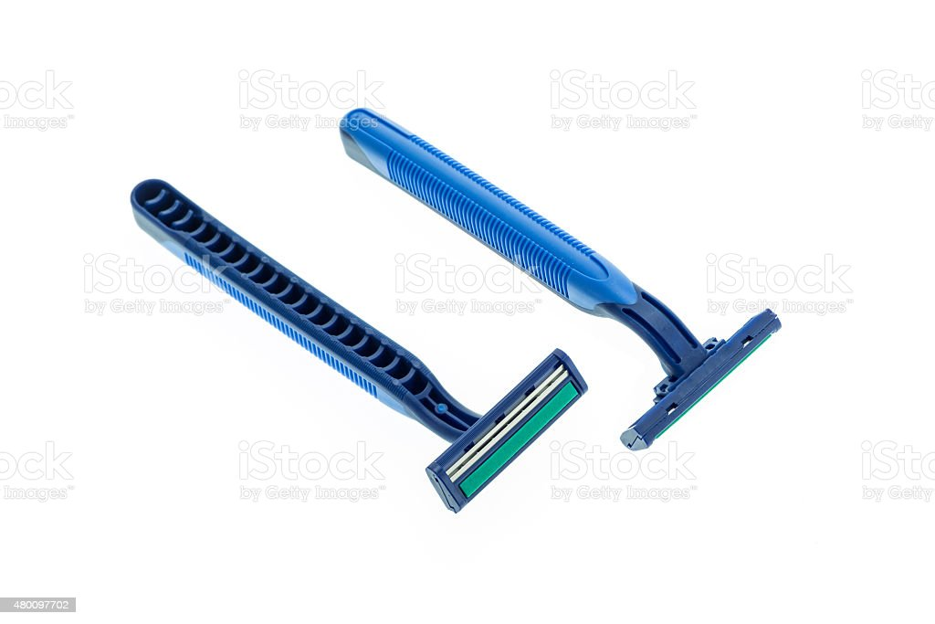 Close up new blue shaver isolated on white stock photo