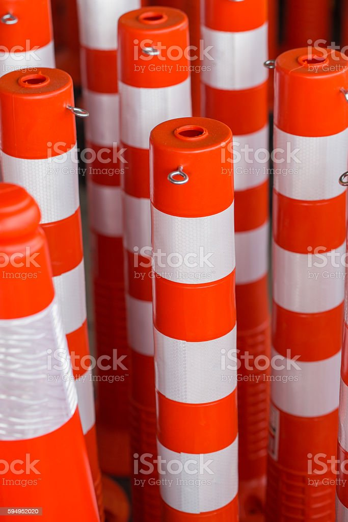 close up new traffic pole red reflect color stripe. stock photo