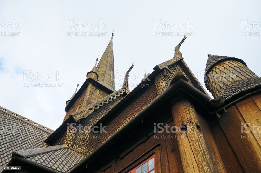 Close up norwegian tree church stock photo