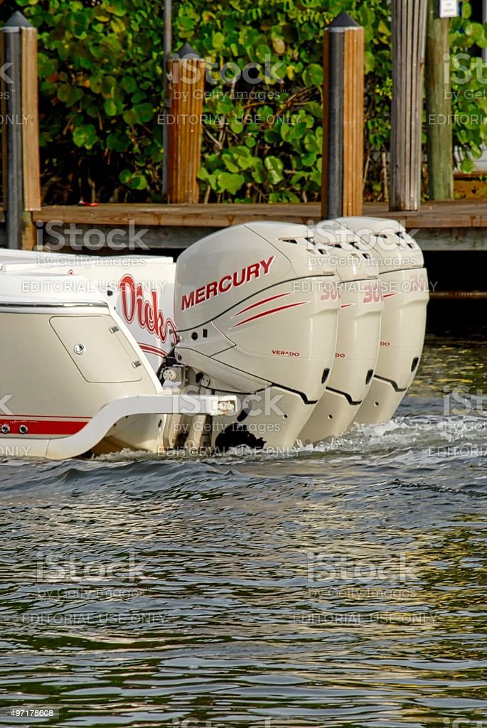 Close up of 300hp Outboard Enginees stock photo