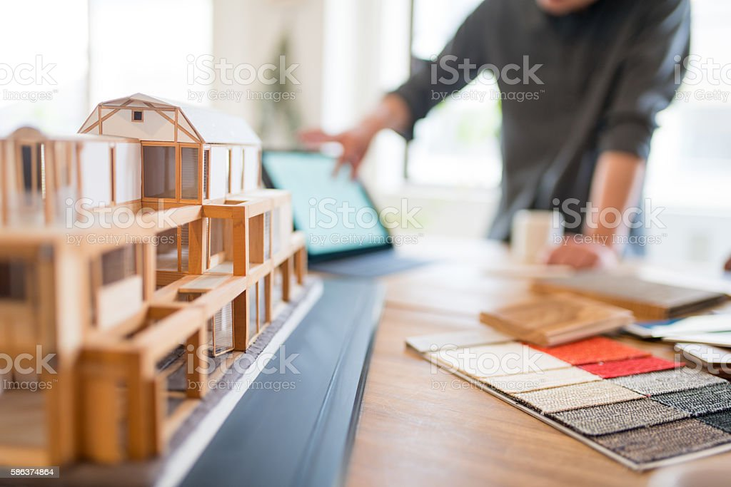 Close up of a 3D architectural model stock photo