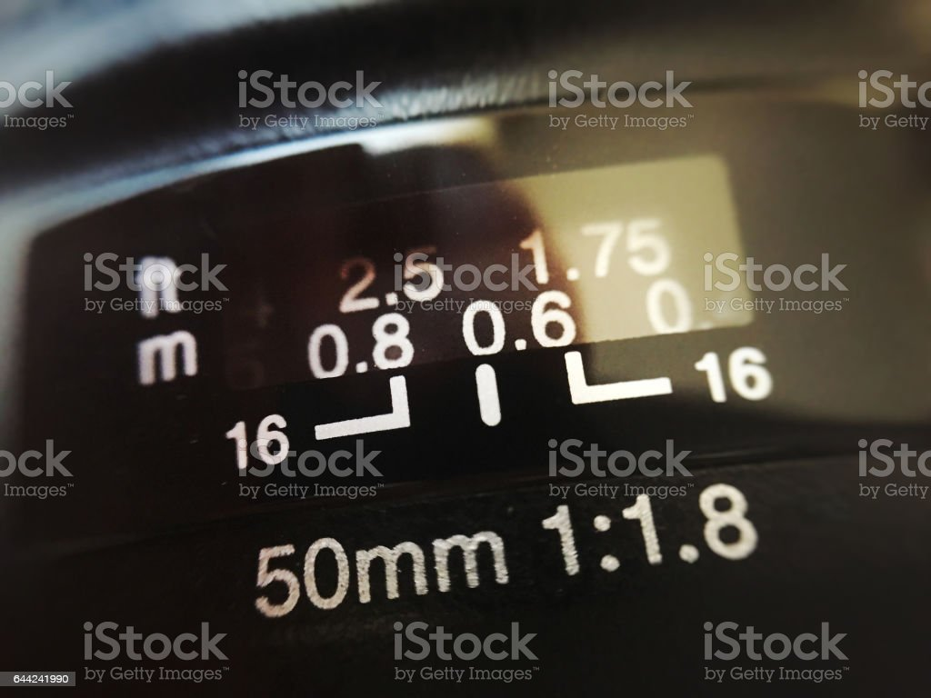 Close up of a 50mm lens stock photo