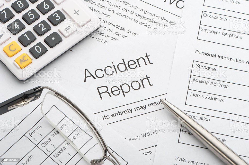 Close up of a accident report royalty-free stock photo