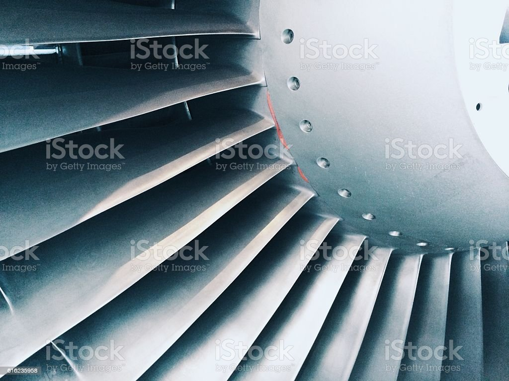 Close up of a aircraft turbine engine stock photo