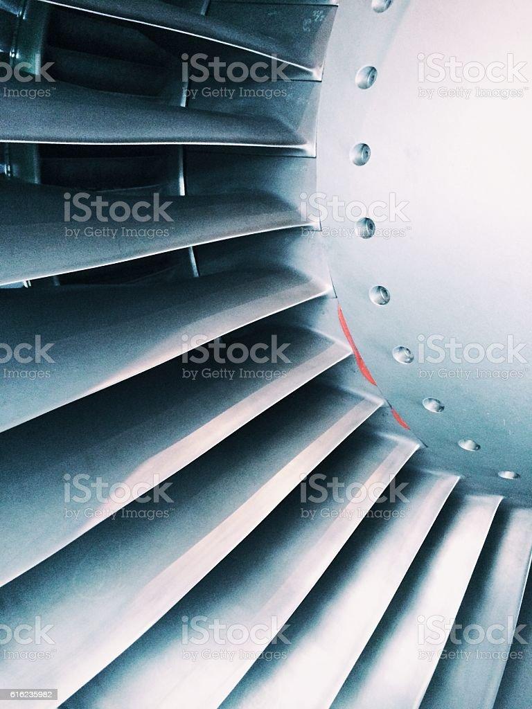 Close up of a aircraft turbine engine stock photo