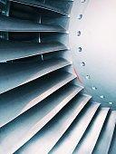 Close up of a aircraft turbine engine