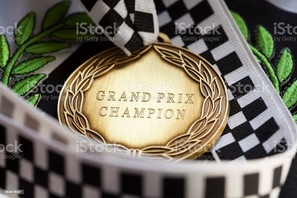 A close up of a award from the Grand Prix championship royalty-free stock photo