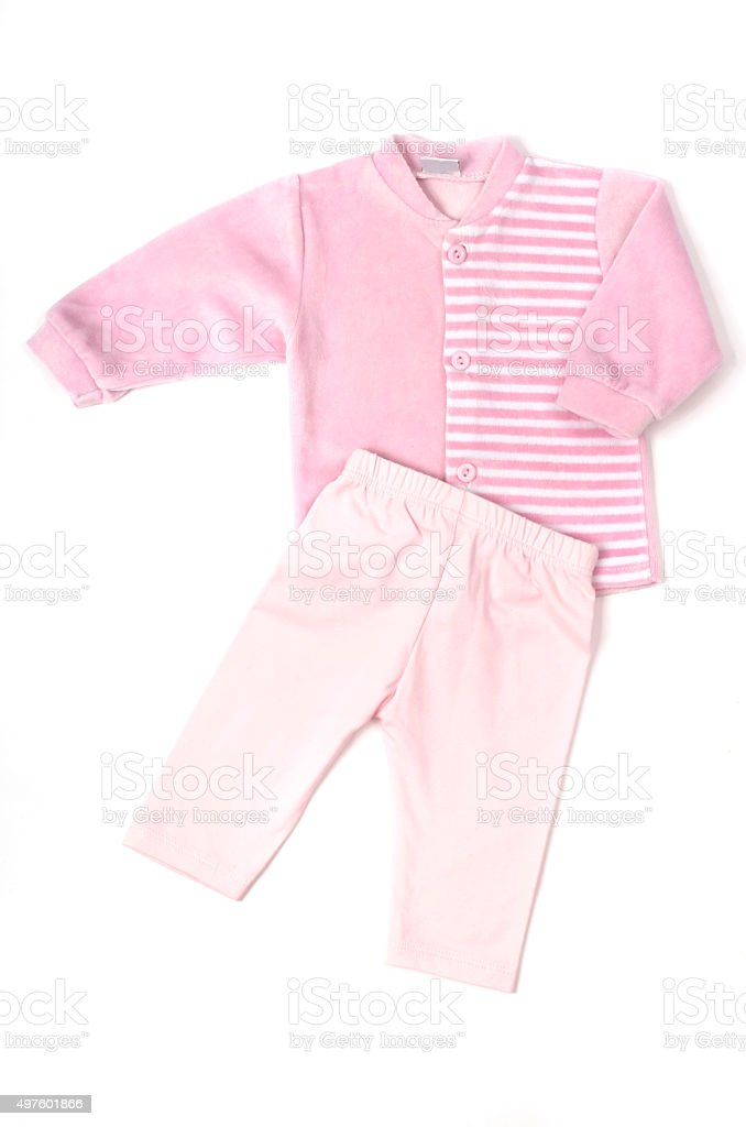 Close up of a baby pink blouse and pants. stock photo
