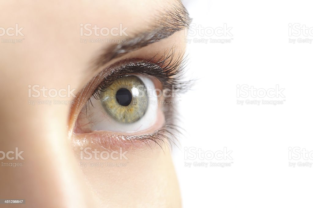 Close up of a beautiful woman green eye stock photo