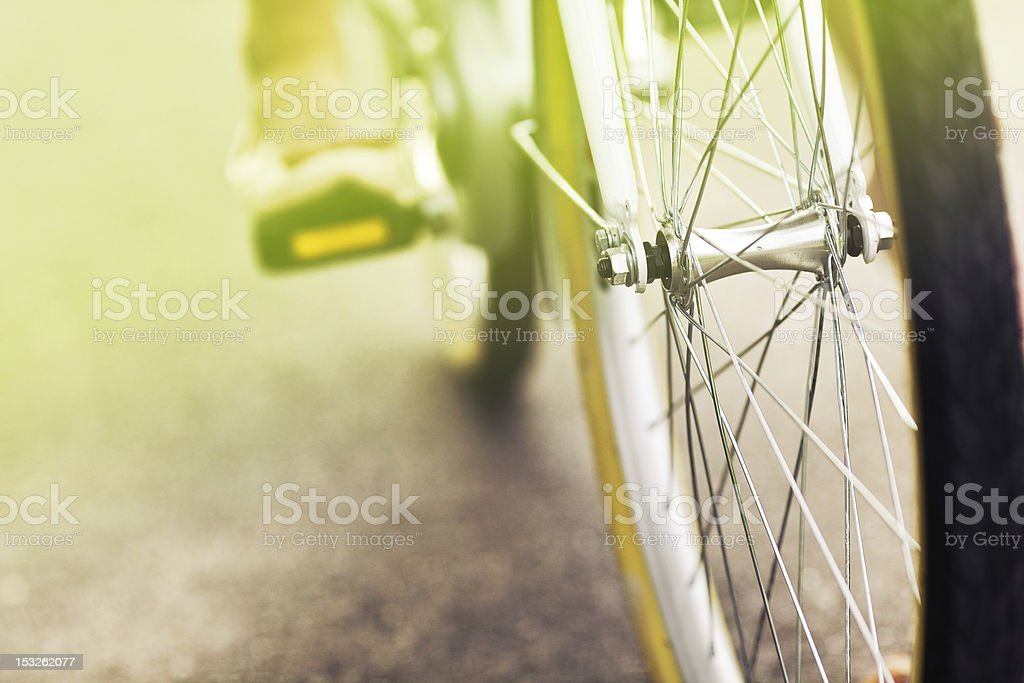 Close up of a bicycle drive wheel  - vintage effect stock photo