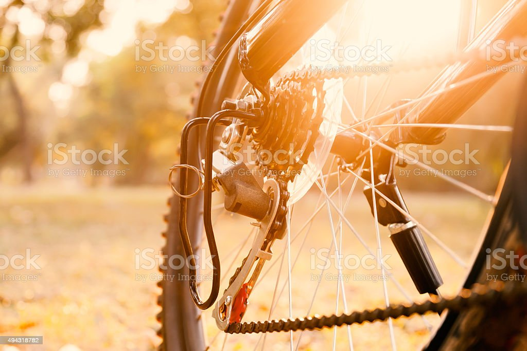 Close up of a Bicycle rear wheel with details. stock photo