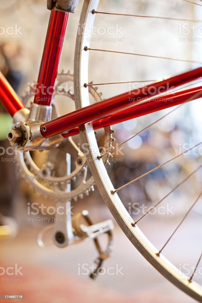Close up of a bicycle wheel cog stock photo