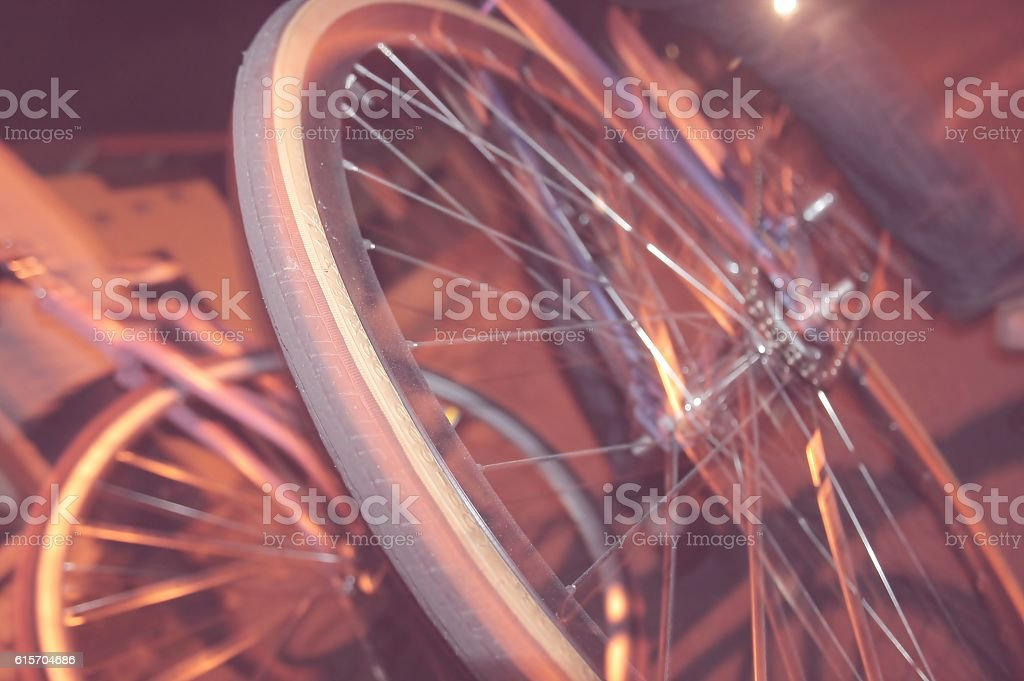 Close up of a Bicycle wheel stock photo