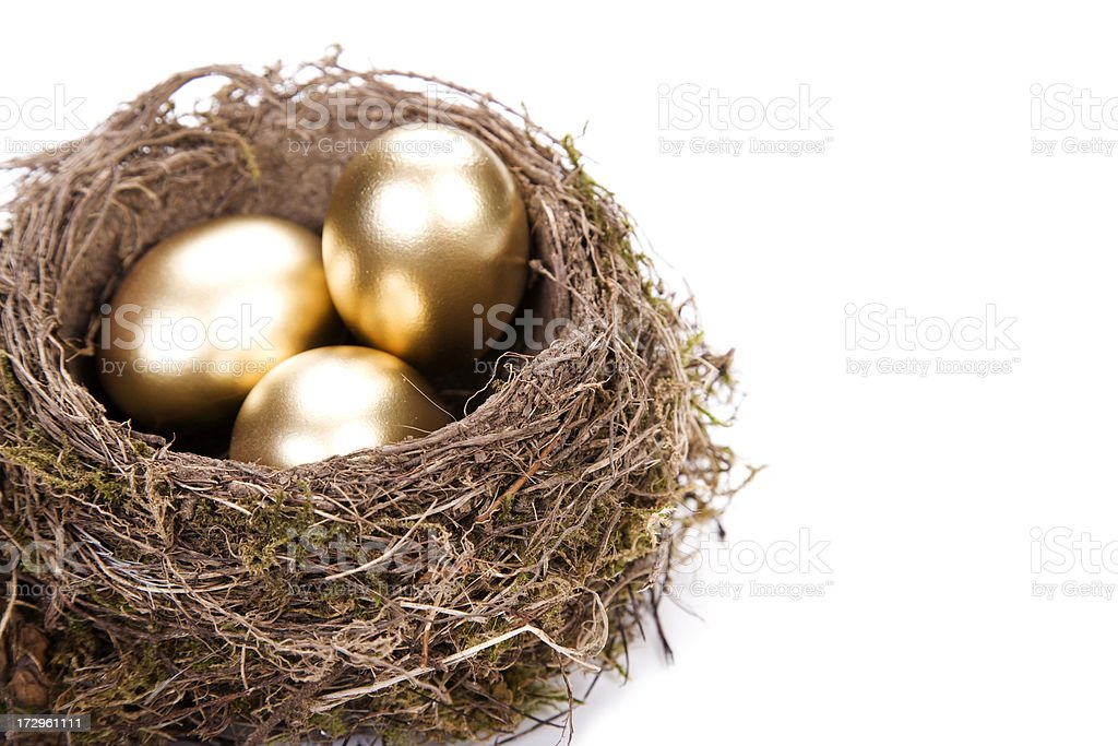 Close up of a bird's nest, with three shiny golden eggs  stock photo