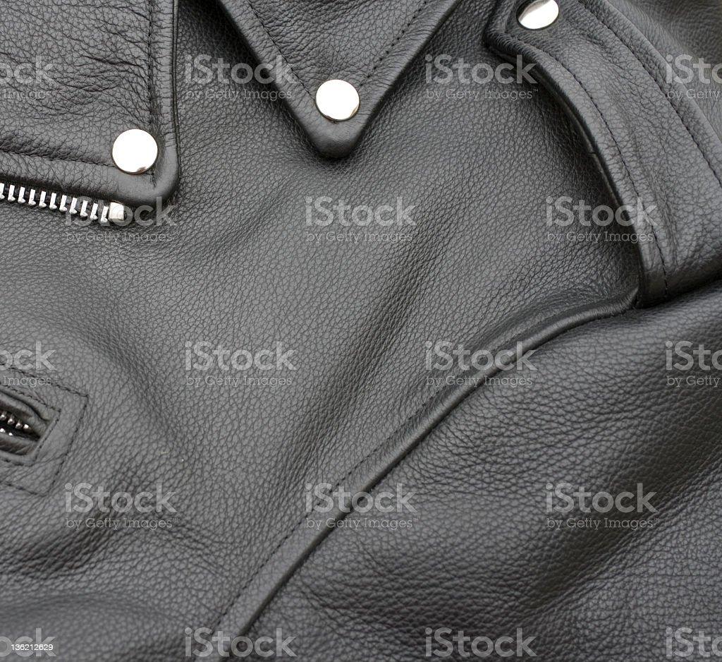 Close up of a black leather biker jacket stock photo